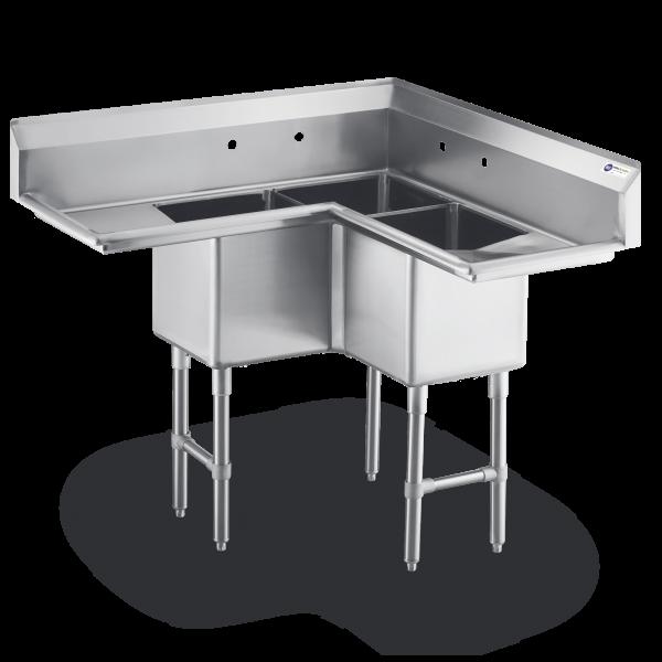 3 Compartment Coner Sink